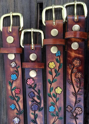 "1 1/4"" Hand Painted Flower Belt  with Name- ML25920HPN"