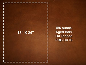 "18"" x 24"" Aged Bark Oil Tanned Pre-cut Leather - DCAB1824"