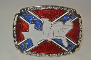 """Confederate States"" Heavy Cast Epoxy Inlay Buckle - EB2444"