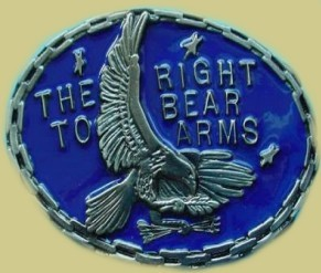 """Right To Bear Arms"" Heavy Cast Epoxy Inlay Buckle - EB2044"