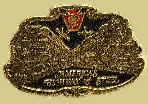 """Americas Highway of Steel"" Heavy Cast Epoxy Inlay Buckle - EB2396"