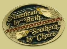 """American by Birth Southern by Choice"" Heavy Cast Epoxy Inlay Buckle - EB2434"