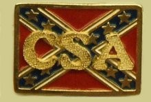 """CSA on Confederate Battle Flag"" Heavy Cast Epoxy Inlay Buckle - EB2462"