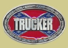 """Trucker Surrounded by Confederate States"" Heavy Cast Epoxy Inlay Buckle - EB2487"