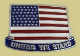 """United States Flag - United We Stand"" Heavy Cast Epoxy Inlay Buckle - EB2494"
