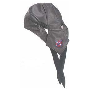 Black Skull Cap W/Rebel Flag