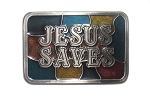 "Jesus Saves ""A"" Series Heavy Cast Epoxy Inlay Buckle"