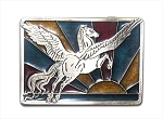 "Winged Horse Pegasus ""A"" Series Heavy Cast Epoxy Inlay Buckle - EB2242A"