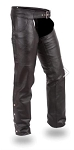 ZWL Premium Jean Style Top Grain  Black Chaps(Sizes S - 5XL) - MC0720