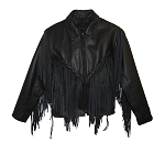 Ladies Cowhide Fringe Jacket - MC8041