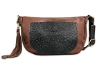 Leather Handbag with Black Ostrich