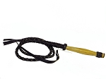Black Leather Braided Bullwhip 4' - 0104B