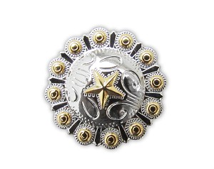 "1 1/2"" Silver & Gold Berry Star Concho with Screw Back - CH84024SG"
