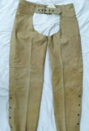 Light Brown Distressed Chaps with Rustic Brown Hardware - M7705