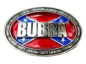 """Bubba Surrounded by Confederate States"" Heavy Cast Epoxy Inlay Buckle - EB2488"