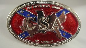 """Southern States on Confederate Battle Flag"" Heavy Cast Epoxy Inlay Buckle - EB2469"