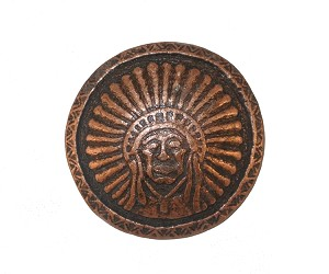 "1 1/4"" Round Indian Chief Concho Copper Oxide"