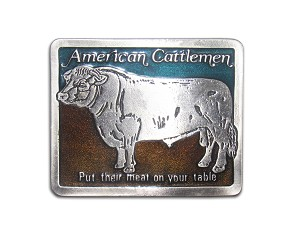 """American Cattlemen"" Heavy Cast Epoxy Inlay Buckle - EB2223"