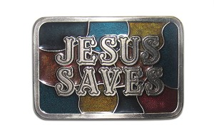 """Jesus Saves"" Heavy Cast Epoxy Inlay Buckle - EB2227"