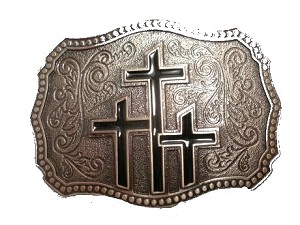 Three Crosses Cast Antique Epoxy Buckle - EB6006