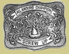 """All Around Champion Screw Up"" Heavy Cast Epoxy Inlay Buckle - EB2010"