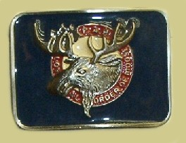 """Loyal Order of the Moose"" Heavy Cast Epoxy Inlay Buckle - EB2013"