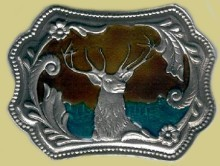 """Deer Head"" Heavy Cast Epoxy Inlay Buckle - EB2020"