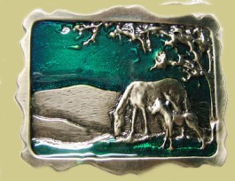 """Mare & Colt"" Heavy Cast Epoxy Inlay Buckle - EB2041"
