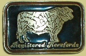 """Registered Herefords"" Heavy Cast Epoxy Inlay Buckle - EB2200"