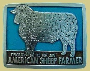 """American Sheep Farmer"" Heavy Cast Epoxy Inlay Buckle - EB2244"