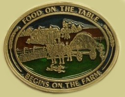 """Food On The Table Begins On The Farm"" Heavy Cast Epoxy Inlay Buckle - EB2265"