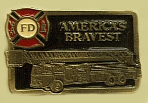 """Americas Bravest "" Heavy Cast Epoxy Inlay Buckle - EB2274"