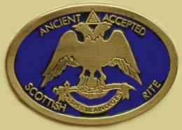 """Ancient Accepted Scottish Rite"" Heavy Cast Epoxy Inlay Buckle - EB2291"