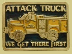 """Fire Rescue Attack Truck"" Heavy Cast Epoxy Inlay Buckle - EB2310"