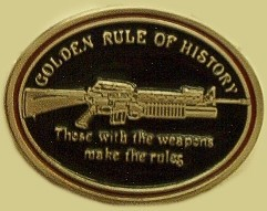 """Golden Rule of History"" Heavy Cast Epoxy Inlay Buckle - EB2330"