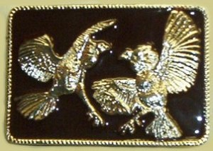 """Fighting Pheasants"" Heavy Cast Epoxy Inlay Buckle - EB2337"