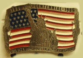 """Statue of Liberty Centennial - 1886-1986"" Heavy Cast Epoxy Inlay Buckle - EB2344"
