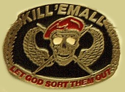 """Kill Em All Let God Sort Them Out"" Heavy Cast Epoxy Inlay Buckle - EB2351"