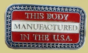 """This Body Manufactured In The USA"" Heavy Cast Epoxy Inlay Buckle - EB2357"
