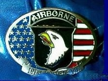 """Screaming Eagles 101 Airborne Division"" Heavy Cast Epoxy Inlay Buckle - EB2367"