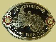 """Retired Firefighter"" Heavy Cast Epoxy Inlay Buckle - EB2401"