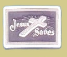 """Jesus Saves Epoxy Buckle"" Heavy Cast Epoxy Inlay Buckle - EB2406"