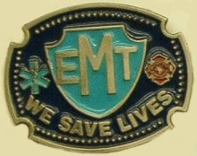 """EMT We Save Lives"" Heavy Cast Epoxy Inlay Buckle - EB2431"