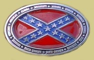 """Southern States Surrounding Confederate Flag"" Heavy Cast Epoxy Inlay Buckle - EB2468"