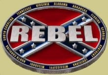 """Rebel Surrounded by Confederate States"" Heavy Cast Epoxy Inlay Buckle - EB2473"