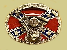 """Dixie Biker"" Heavy Cast Epoxy Inlay Buckle - EB2483"