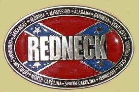 """Redneck Surrounded by Confederate States"" Heavy Cast Epoxy Inlay Buckle - EB2484"