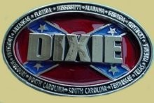"""Dixie Surrounded by Confederate States"" Heavy Cast Epoxy Inlay Buckle - EB2486"