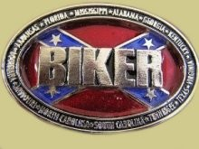 """Biker Surrounded by Confederate States"" Heavy Cast Epoxy Inlay Buckle - EB2486"