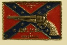 """Rebel Flag & Gun"" Heavy Cast Epoxy Inlay Buckle - EB2075"